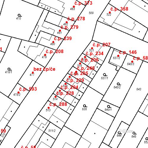 Katastrální mapa Stavební objekt Blučina 246, Blučina