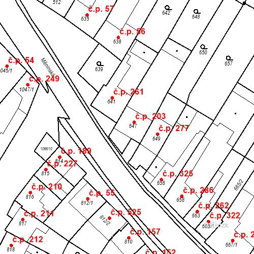 Katastrální mapa Stavební objekt Blučina 203, Blučina