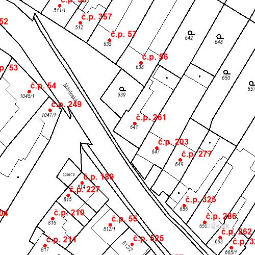 Katastrální mapa Stavební objekt Blučina 261, Blučina