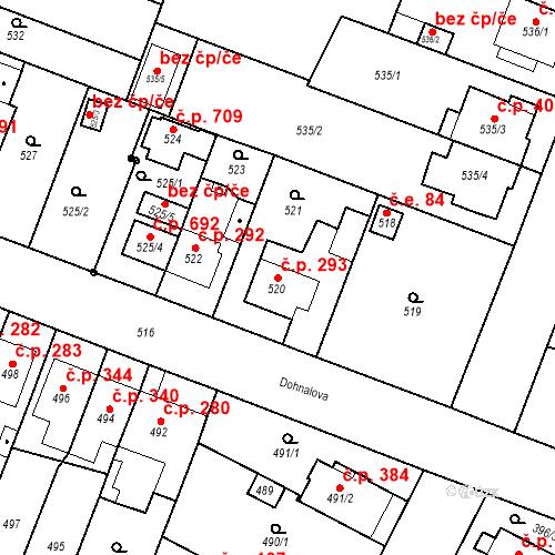 Katastrální mapa Stavební objekt Soběšice 293, Brno