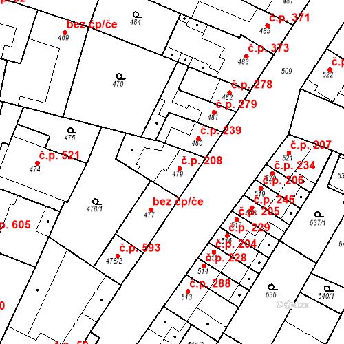 Katastrální mapa Stavební objekt Blučina 208, Blučina