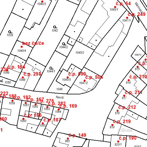 Katastrální mapa Stavební objekt Blučina 590, Blučina
