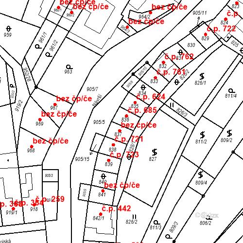 Katastrální mapa Stavební objekt Blučina 685, Blučina