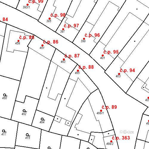 Katastrální mapa Stavební objekt Blučina 88, Blučina