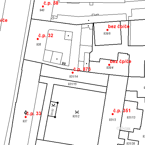 Katastrální mapa Stavební objekt Zábrdovice 873, Brno