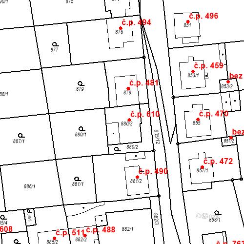 Katastrální mapa Stavební objekt Blučina 610, Blučina