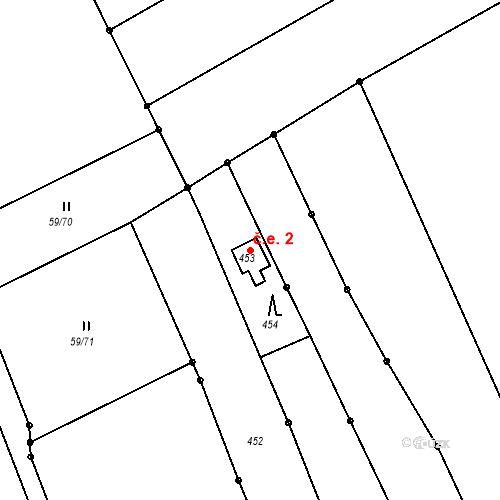Katastrální mapa Stavební objekt Ořešín 2, Brno