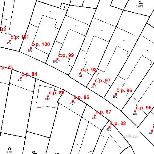 Katastrální mapa Stavební objekt Blučina 98, Blučina