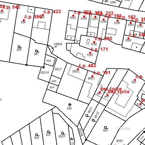 Katastrální mapa Stavební objekt Blučina 483, Blučina