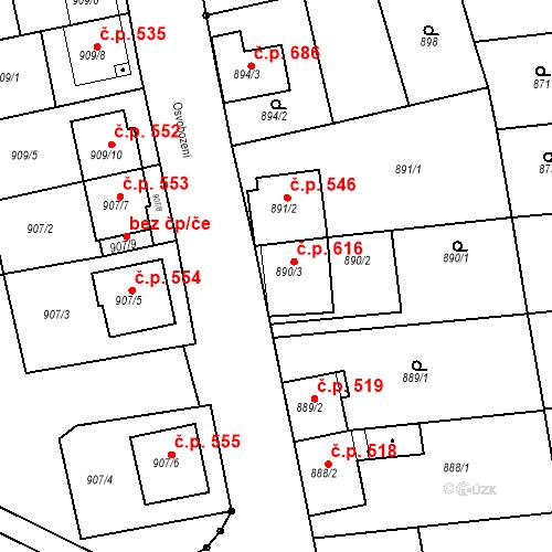 Katastrální mapa Stavební objekt Blučina 616, Blučina