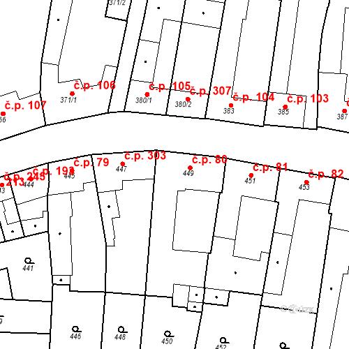 Katastrální mapa Stavební objekt Blučina 80, Blučina