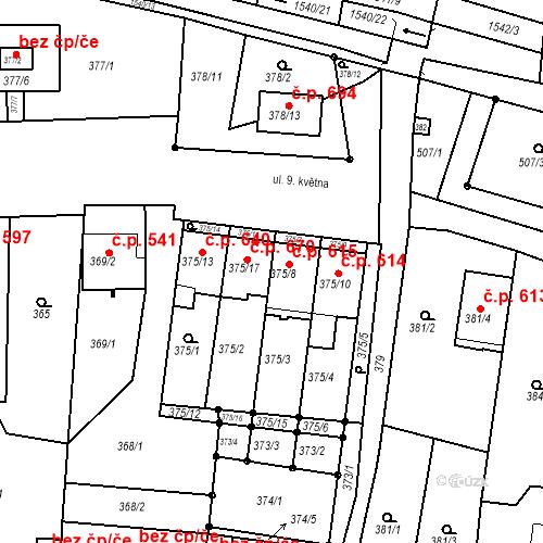 Katastrální mapa Stavební objekt Blučina 615, Blučina