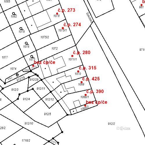 Katastrální mapa Stavební objekt Blučina 315, Blučina
