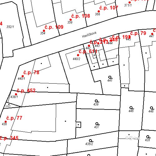 Katastrální mapa Stavební objekt Blučina 611, Blučina