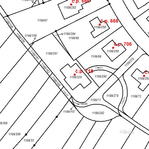 Katastrální mapa Stavební objekt Soběšice 718, Brno
