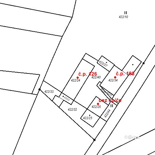 Katastrální mapa Stavební objekt Ořešín 126, Brno