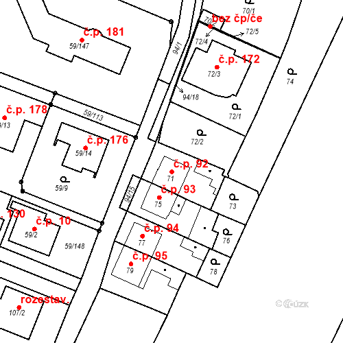 Katastrální mapa Stavební objekt Ořešín 92, Brno