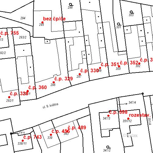 Katastrální mapa Stavební objekt Blučina 330, Blučina