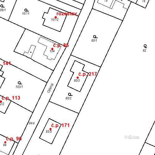 Katastrální mapa Stavební objekt Ořešín 217, Brno