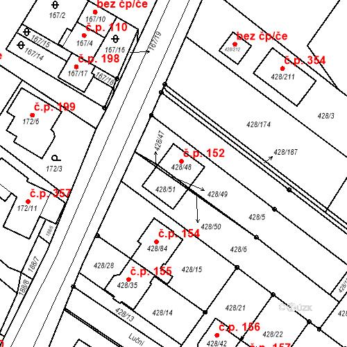 Katastrální mapa Stavební objekt Rebešovice 152, Rebešovice