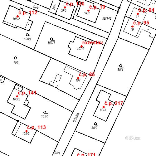 Katastrální mapa Stavební objekt Ořešín 85, Brno