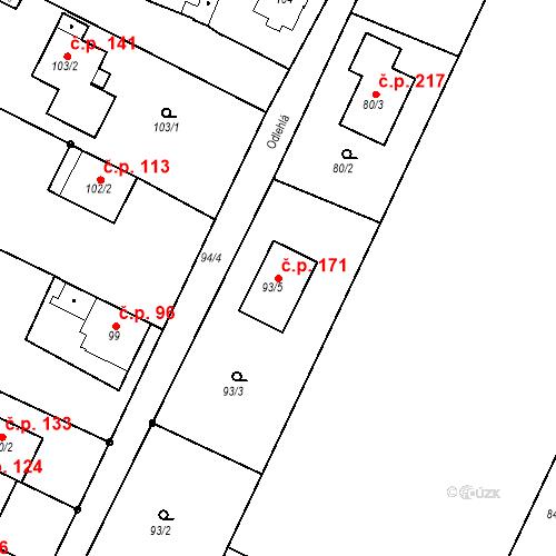 Katastrální mapa Stavební objekt Ořešín 171, Brno