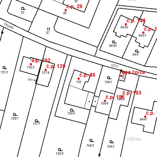 Katastrální mapa Stavební objekt Ořešín 86, Brno