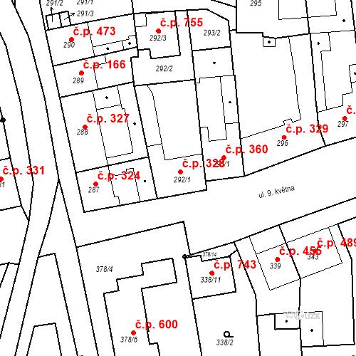 Katastrální mapa Stavební objekt Blučina 328, Blučina