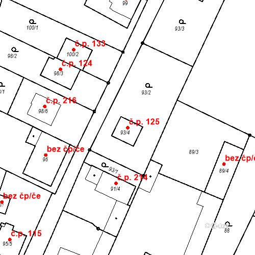 Katastrální mapa Stavební objekt Ořešín 125, Brno