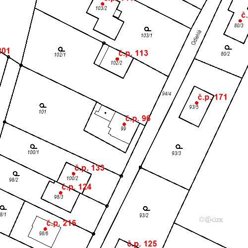 Katastrální mapa Stavební objekt Ořešín 96, Brno