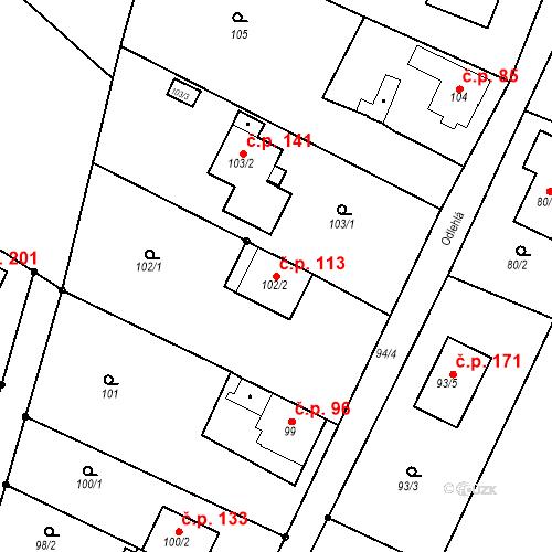 Katastrální mapa Stavební objekt Ořešín 113, Brno