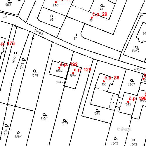 Katastrální mapa Stavební objekt Ořešín 129, Brno