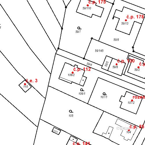 Katastrální mapa Stavební objekt Ořešín 112, Brno