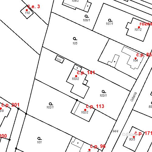 Katastrální mapa Stavební objekt Ořešín 141, Brno