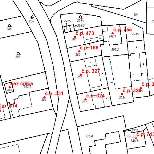 Katastrální mapa Stavební objekt Blučina 327, Blučina