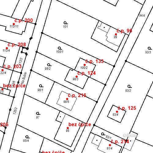 Katastrální mapa Stavební objekt Ořešín 124, Brno