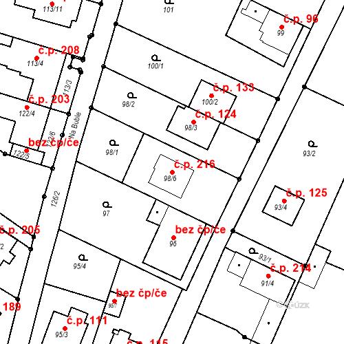 Katastrální mapa Stavební objekt Ořešín 216, Brno