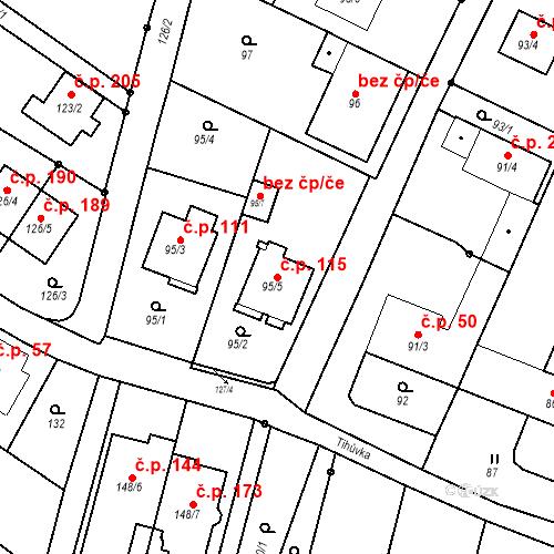 Katastrální mapa Stavební objekt Ořešín 115, Brno