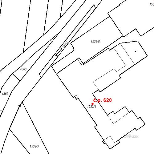 Katastrální mapa Stavební objekt Blučina 620, Blučina