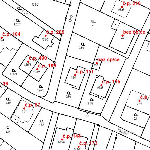 Katastrální mapa Stavební objekt Ořešín 111, Brno