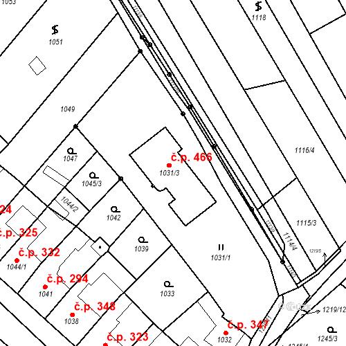 Katastrální mapa Stavební objekt Nosislav 466, Nosislav