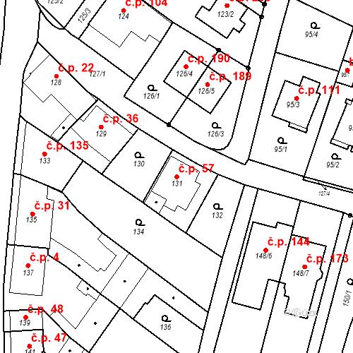 Katastrální mapa Stavební objekt Ořešín 57, Brno