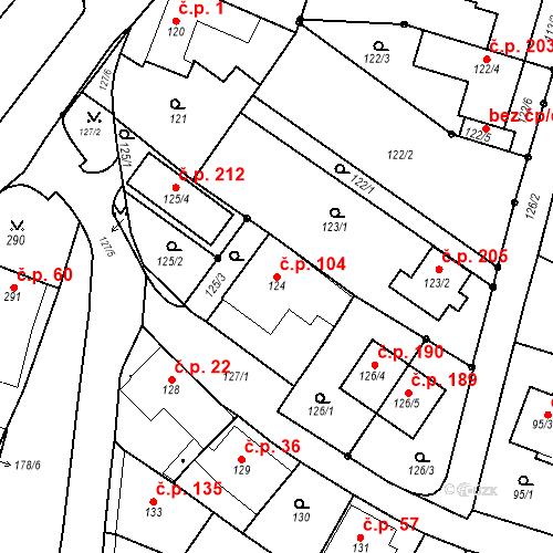 Katastrální mapa Stavební objekt Ořešín 104, Brno