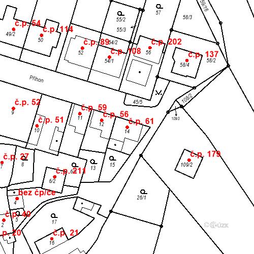 Katastrální mapa Stavební objekt Ořešín 61, Brno
