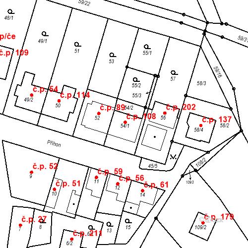 Katastrální mapa Stavební objekt Ořešín 108, Brno