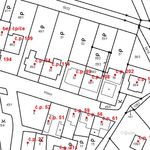 Katastrální mapa Stavební objekt Ořešín 89, Brno