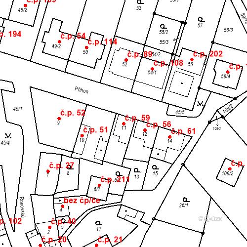 Katastrální mapa Stavební objekt Ořešín 59, Brno