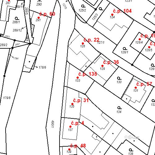 Katastrální mapa Stavební objekt Ořešín 135, Brno