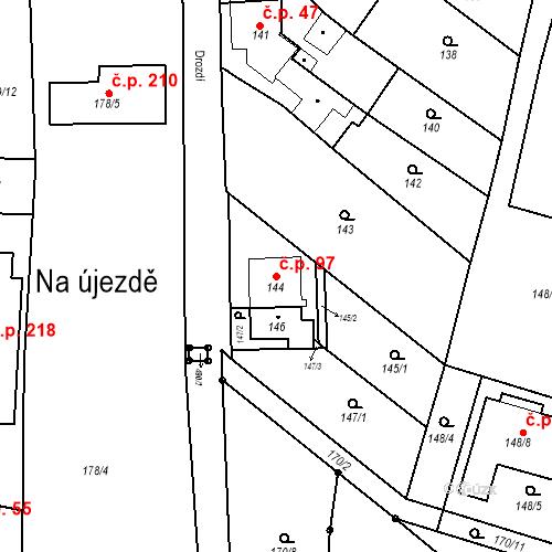 Katastrální mapa Stavební objekt Ořešín 97, Brno