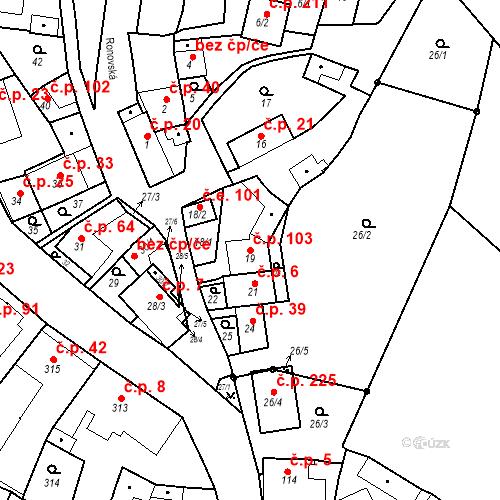 Katastrální mapa Stavební objekt Ořešín 103, Brno